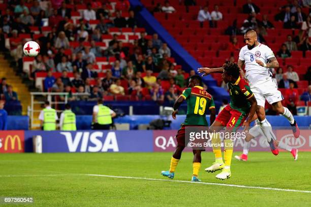 Arturo Vidal of Chile heads the ball to score the first goal for Chile during the 2017 FIFA Confederations Cup Russia Group B match between Cameroon...