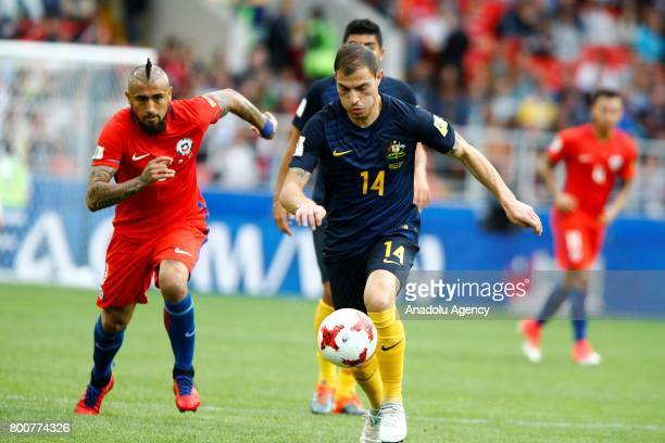Arturo Vidal of Chile in action against James Troisi of Australia during the Confederations Cup 2017 match between Chile and Australia at Spartak...