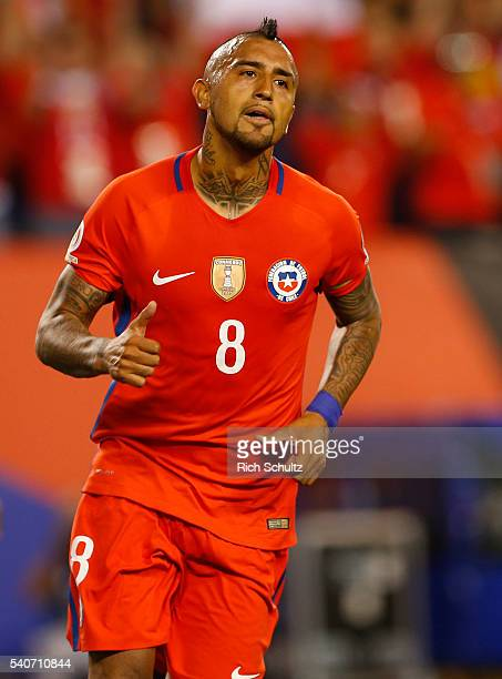 Arturo Vidal of Chile in action against Panama in the first half during the 2016 Copa America Centenario Group D match at Lincoln Financial Field on...