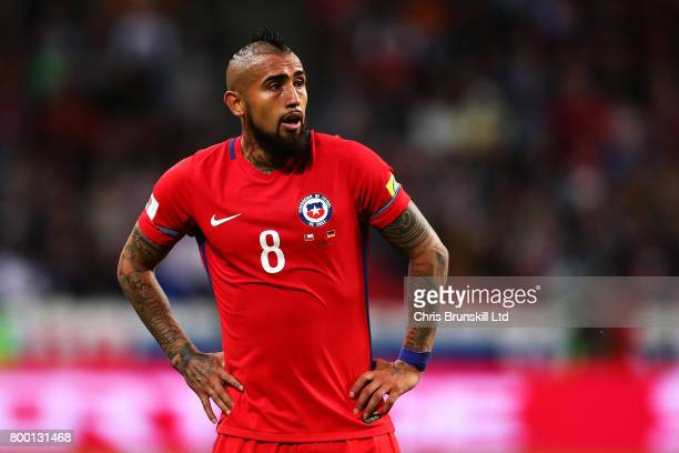 Arturo Vidal of Chile in action during the FIFA Confederations Cup Russia 2017 Group B match between Germany and Chile at Kazan Arena on June 22 2017...