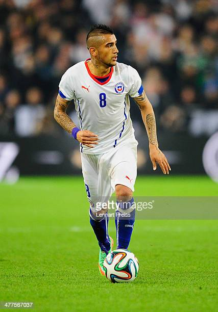 Arturo Vidal of Chile in action during the international friendly match between Germany and Chile at MercedesBenz Arena on March 5 2014 in Stuttgart...