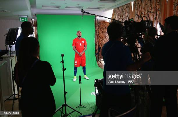 Arturo Vidal of Chile is seen behind the scenes during a filming session ahead of the FIFA Confederations Cup Russia 2017 at the Crowne Plaza Hotel...
