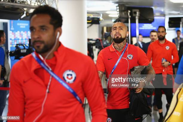 Arturo Vidal of Chile is seen on arrival at the stadium during the FIFA Confederations Cup Russia 2017 Group B match between Cameroon and Chile at...