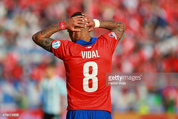 Arturo Vidal of Chile laments after missing a chance at goal during the 2015 Copa America Chile Final match between Chile and Argentina at Nacional...
