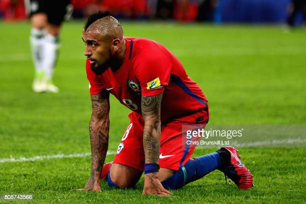 Arturo Vidal of Chile looks dejected during the FIFA Confederations Cup Russia 2017 Final match between Chile and Germany at Saint Petersburg Stadium...