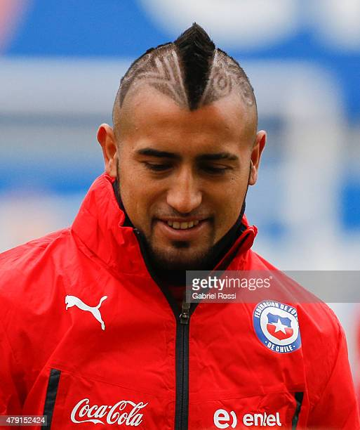 Arturo Vidal of Chile looks on during a training session at Juan Pinto Duran on July 01 2015 in Santiago Chile Chile will face Argentina in the final...
