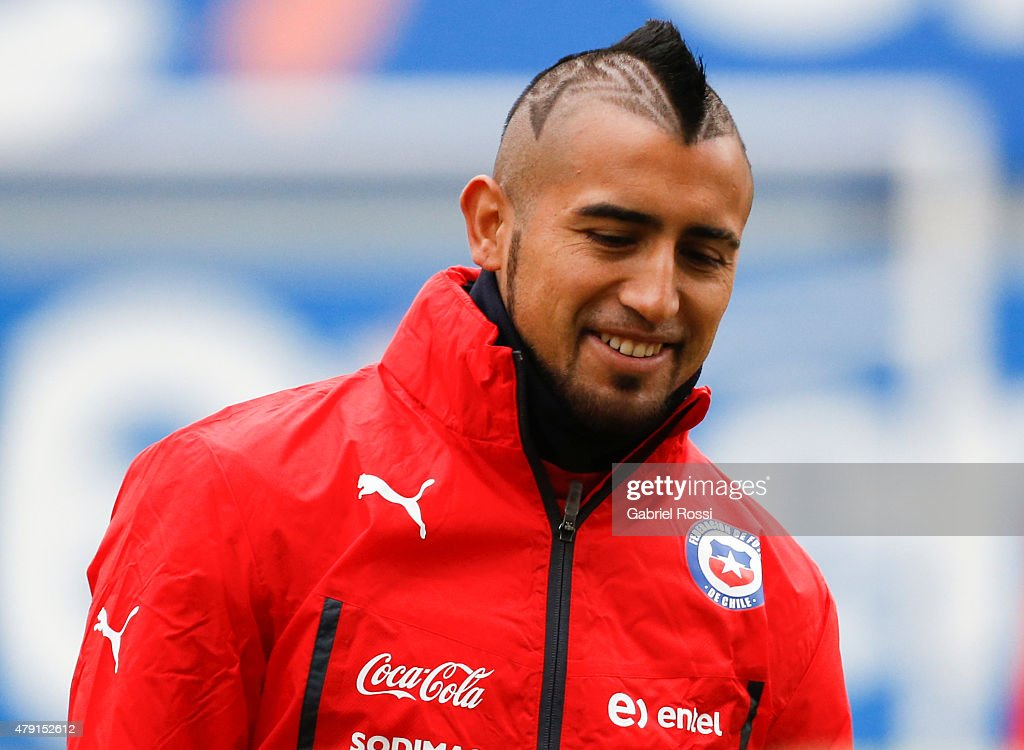 <a gi-track='captionPersonalityLinkClicked' href=/galleries/search?phrase=Arturo+Vidal&family=editorial&specificpeople=2223374 ng-click='$event.stopPropagation()'>Arturo Vidal</a> of Chile looks on during a training session at Juan Pinto Duran on July 01, 2015 in Santiago, Chile. Chile will face Argentina in the final match as part of 2015 Copa America Chile on July 04.