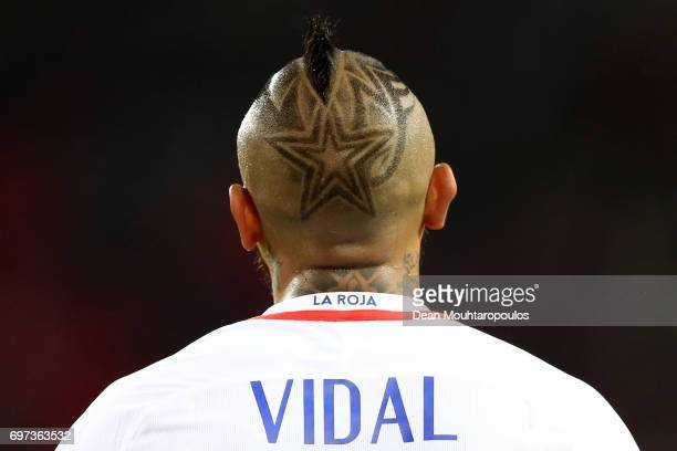 Arturo Vidal of Chile looks on during the FIFA Confederations Cup Russia 2017 Group B match between Cameroon and Chile at Spartak Stadium on June 18...