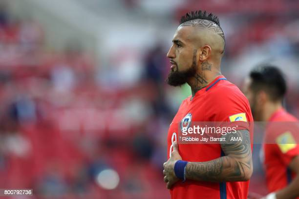 Arturo Vidal of Chile looks on during the FIFA Confederations Cup Russia 2017 Group B match between Chile and Australia at Spartak Stadium on June 25...