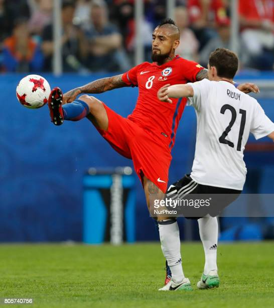 Arturo Vidal of Chile national team and Sebastian Rudy of Germany national team during FIFA Confederations Cup Russia 2017 final match between Chile...