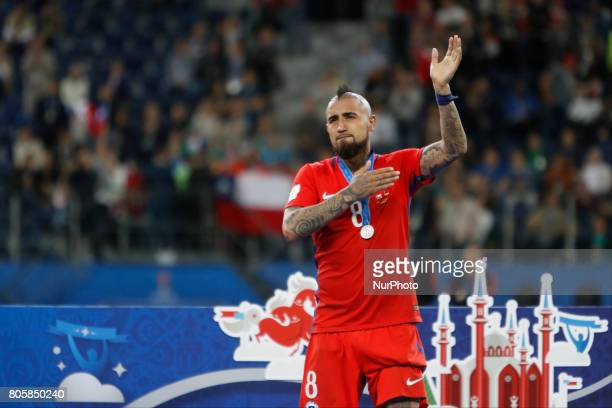 Arturo Vidal of Chile national team during award ceremony after FIFA Confederations Cup Russia 2017 final match between Chile and Germany at Saint...