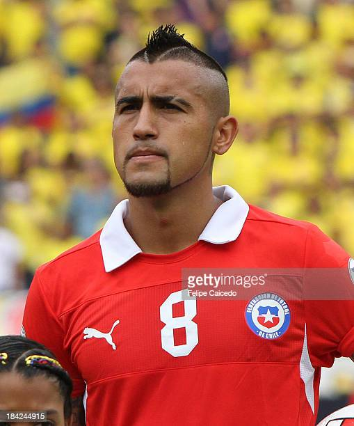 Arturo Vidal of Chile poses before a match between Colombia and Chileas part of the South American Qualifiers for the FIFA's World Cup Brazil 2014 at...