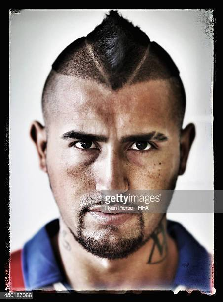 Arturo Vidal of Chile poses during the official FIFA World Cup 2014 portrait session on June 6 2014 in Belo Horizonte Brazil