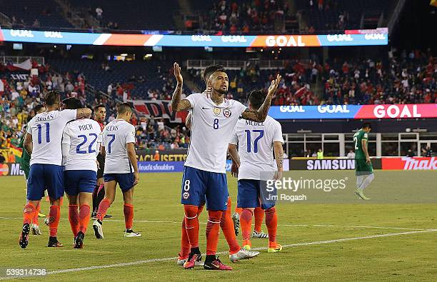 Arturo Vidal of Chile reacts after he scored the winning goal on a penalty kick during a 2016 Copa America Centenario Group D match between Chile and...