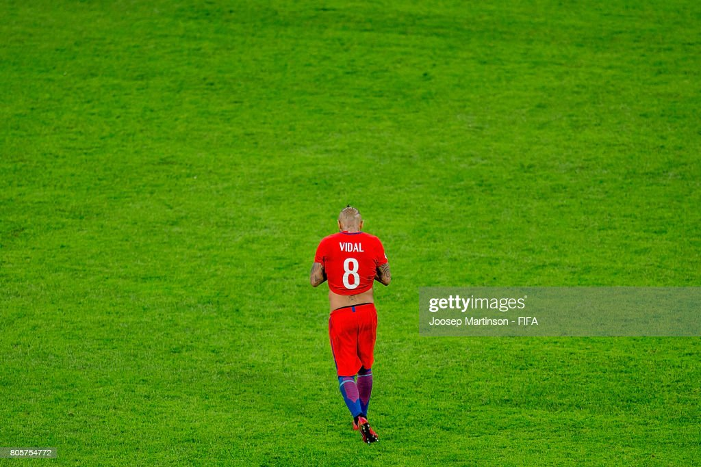 Arturo Vidal of Chile reacts after the FIFA Confederations Cup Russia final match between Chile and Germany at Saint Petersburg Stadium on July 2, 2017 in Saint Petersburg, Russia.
