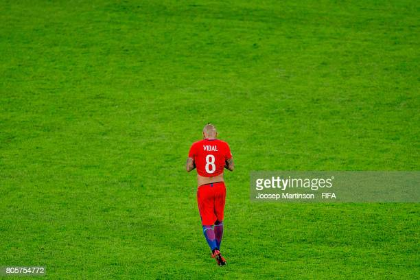 Arturo Vidal of Chile reacts after the FIFA Confederations Cup Russia final match between Chile and Germany at Saint Petersburg Stadium on July 2...