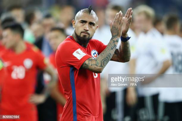 Arturo Vidal of Chile reacts after the FIFA Confederations Cup Russia 2017 final between Chile and Germany at Saint Petersburg Stadium on July 2 2017...