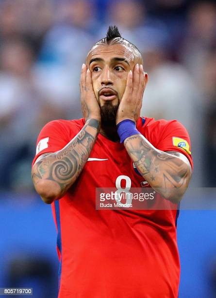Arturo Vidal of Chile reacts during the FIFA Confederations Cup Russia 2017 Final between Chile and Germany at Saint Petersburg Stadium on July 2...