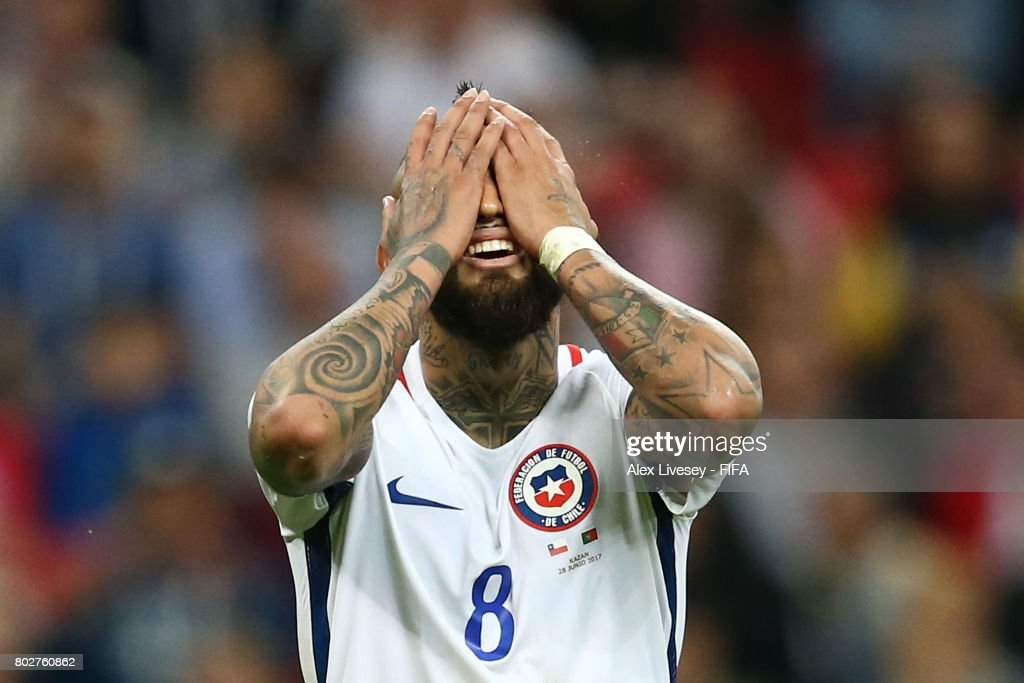 Arturo Vidal of Chile reacts to missing a chance during the FIFA Confederations Cup Russia 2017 Semi-Final between Portugal and Chile at Kazan Arena on June 28, 2017 in Kazan, Russia.
