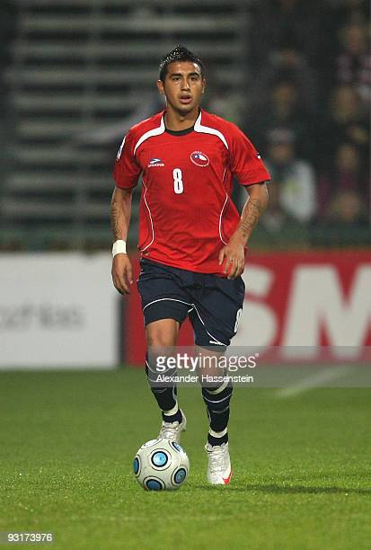 Arturo Vidal of Chile runs with the ball during the international friendly match between Slovakia and Chile at the MSK Zilina stadium on November 17...