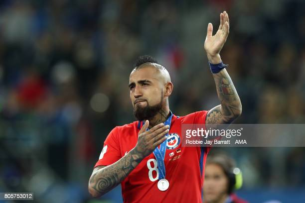 Arturo Vidal of Chile salutes the fans at the end of the FIFA Confederations Cup Russia 2017 Final match between Chile and Germany at Saint...