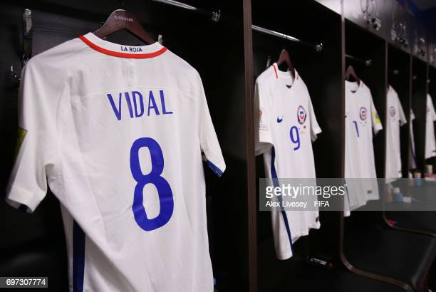 Arturo Vidal of Chile shirt hangs in the changing room prior to the FIFA Confederations Cup Russia 2017 Group B match between Cameroon and Chile at...