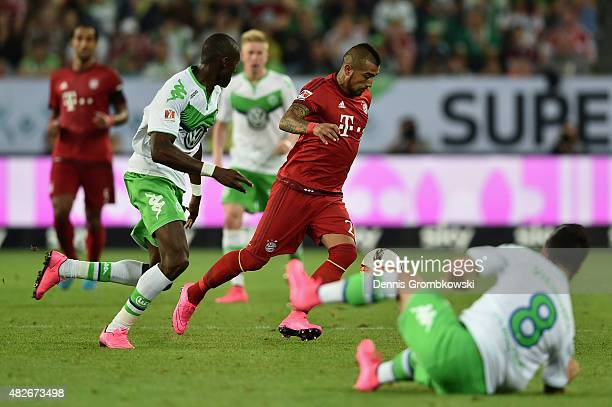 Arturo Vidal of FC Bayern Muenchen controls the ball during the DFL Supercup 2015 match between VfL Wolfsburg and FC Bayern Muenchen at Volkswagen...