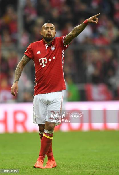 Arturo Vidal of FC Bayern Muenchen gestures during the Bundesliga match between Bayern Muenchen and FC Schalke 04 at Allianz Arena on February 4 2017...