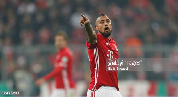 Arturo Vidal of FC Bayern Muenchen gestures during the DFB Cup Round Of 16 match between Bayern Muenchen and VfL Wolfsburg at Allianz Arena on...
