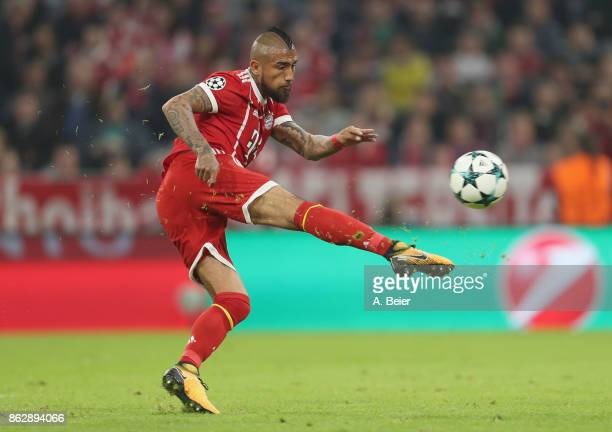 Arturo Vidal of FC Bayern Muenchen kicks the ball during the UEFA Champions League group B match between Bayern Muenchen and Celtic FC at Allianz...