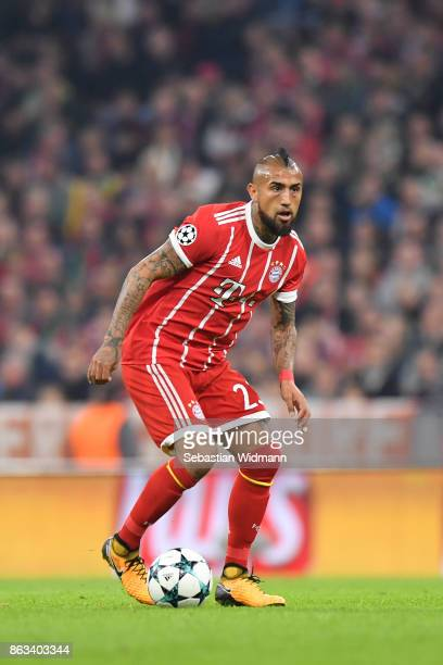 Arturo Vidal of FC Bayern Muenchen plays the ball during the UEFA Champions League group B match between Bayern Muenchen and Celtic FC at Allianz...