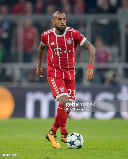 Arturo Vidal of FC Bayern Muenchen runs with the ball during the UEFA Champions League group B match between Bayern Muenchen and Celtic FC at Allianz...