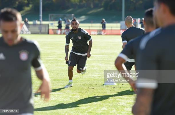 Arturo Vidal of FC Bayern Munich attends a training session ahead of the Champions League group B match between Bayern Munich and Celtic Glasgow at...