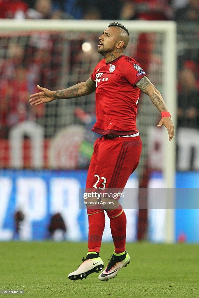 Arturo Vidal #23 of FC Bayern Munich celebrates after scoring a goal during the Champions League semifinal second leg soccer match between FC Bayern Munich and Atletico Madrid at the Allianz Arena on May 3, 2016, in Munich, Germany.