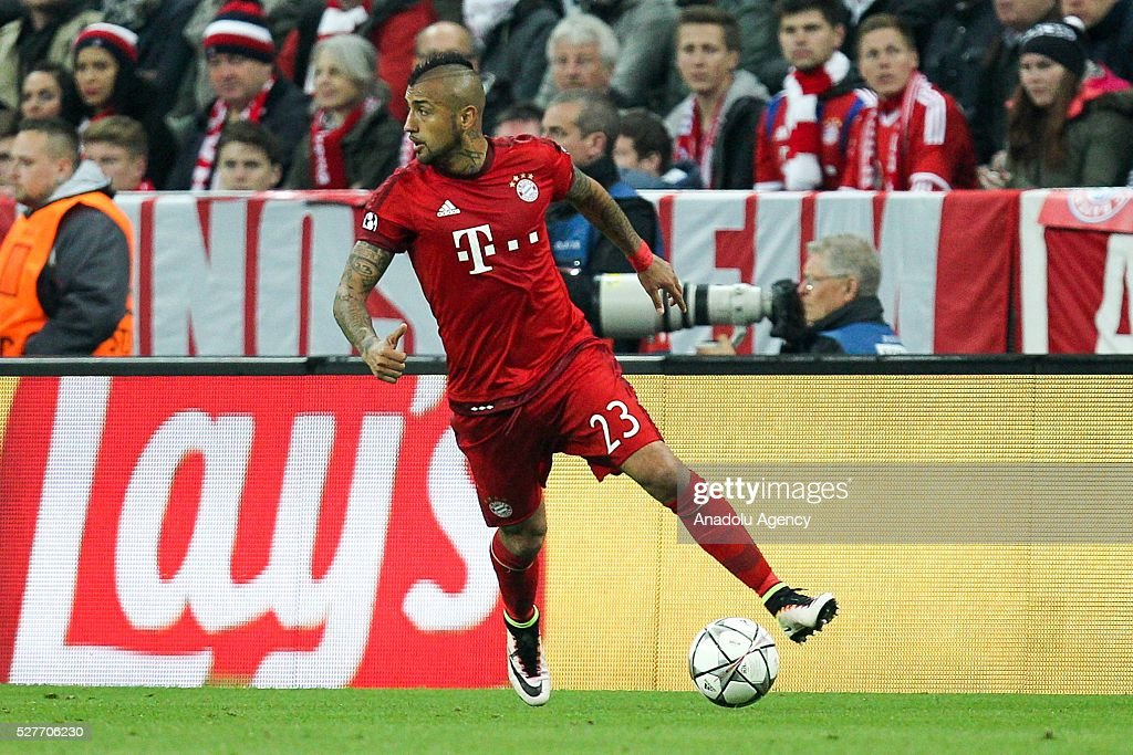 Arturo Vidal of FC Bayern Munich in action during the Champions League semifinal second leg soccer match between FC Bayern Munich and Atletico Madrid at the Allianz Arena on May 3, 2016, in Munich, Germany.
