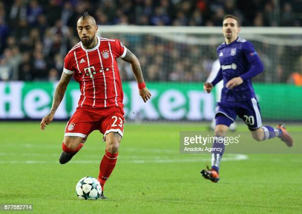 Arturo Vidal of FC Bayern Munich in action during UEFA Champions League Group B soccer match between Anderlecht and FC Bayern Munich at Constant Van...