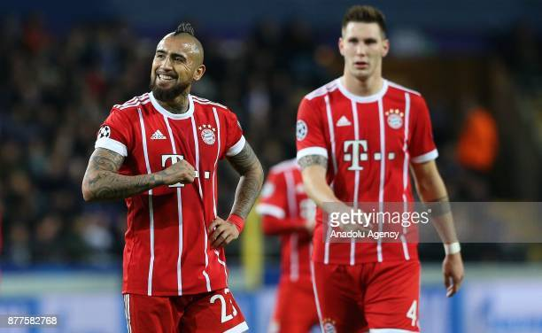 Arturo Vidal of FC Bayern Munich reacts during UEFA Champions League Group B soccer match between Anderlecht and FC Bayern Munich at Constant Van den...