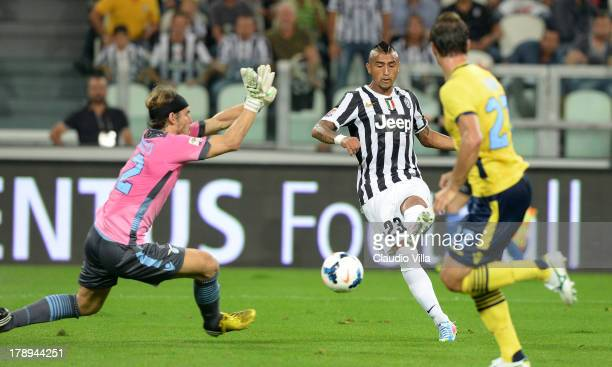 Arturo Vidal of FC Juventus scores the second goal during the Serie A match between Juventus and SS Lazio at Juventus Arena on August 31 2013 in...