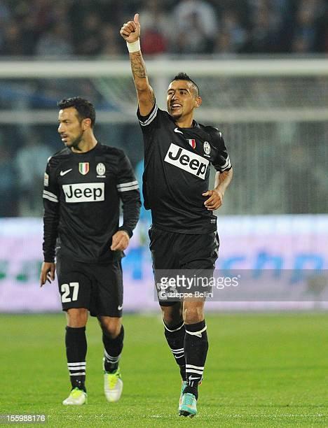 Arturo Vidal of Juventus celebrates after scoring the opening goal during the Serie A match between Pescara and Juventus FC at Adriatico Stadium on...