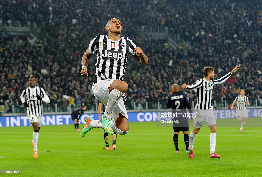 <a gi-track='captionPersonalityLinkClicked' href=/galleries/search?phrase=Arturo+Vidal&family=editorial&specificpeople=2223374 ng-click='$event.stopPropagation()'>Arturo Vidal</a> of Juventus celebrates scoring the third goal during the Serie A match between Juventus and FC Internazionale Milano at Juventus Arena on February 2, 2014 in Turin, Italy.