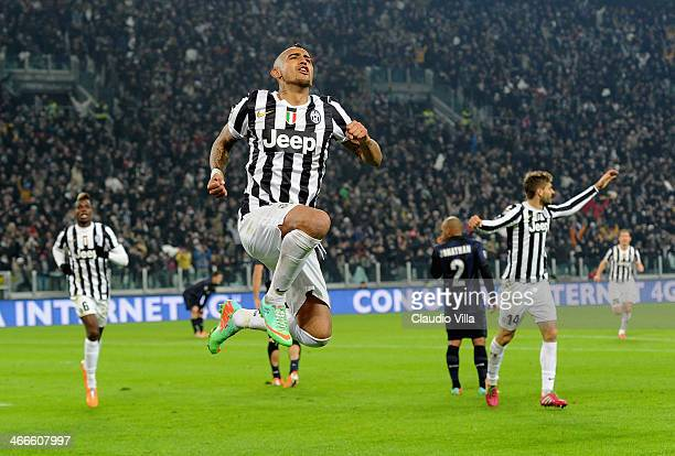 Arturo Vidal of Juventus celebrates scoring the third goal during the Serie A match between Juventus and FC Internazionale Milano at Juventus Arena...