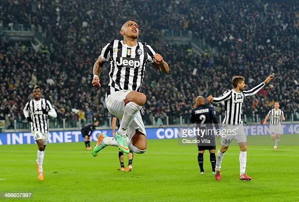 Arturo Vidal of Juventus celebrates scoring the third goal during the Serie A match between Juventus and FC Internazionale Milano at Juventus Arena...