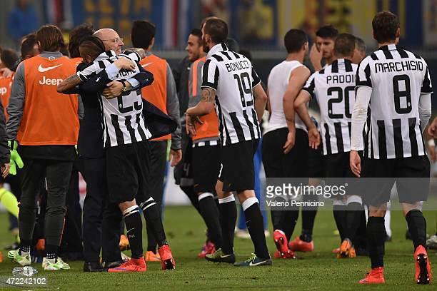 Arturo Vidal of Juventus FC and Juventus FC General Director Giuseppe Marotta celebrate after beating UC Sampdoria 10 to win the Serie A...