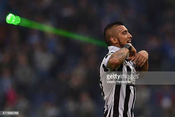 Arturo Vidal of Juventus FC celebrates after beating UC Sampdoria 10 to win the Serie A Championship at the end of the Serie A match between UC...