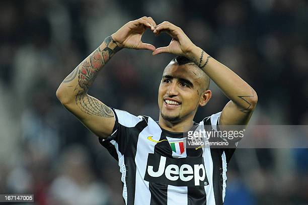 Arturo Vidal of Juventus FC celebrates victory at the end of the Serie A match Juventus FC v AC Milan at Juventus Arena on April 21 2013 in Turin...