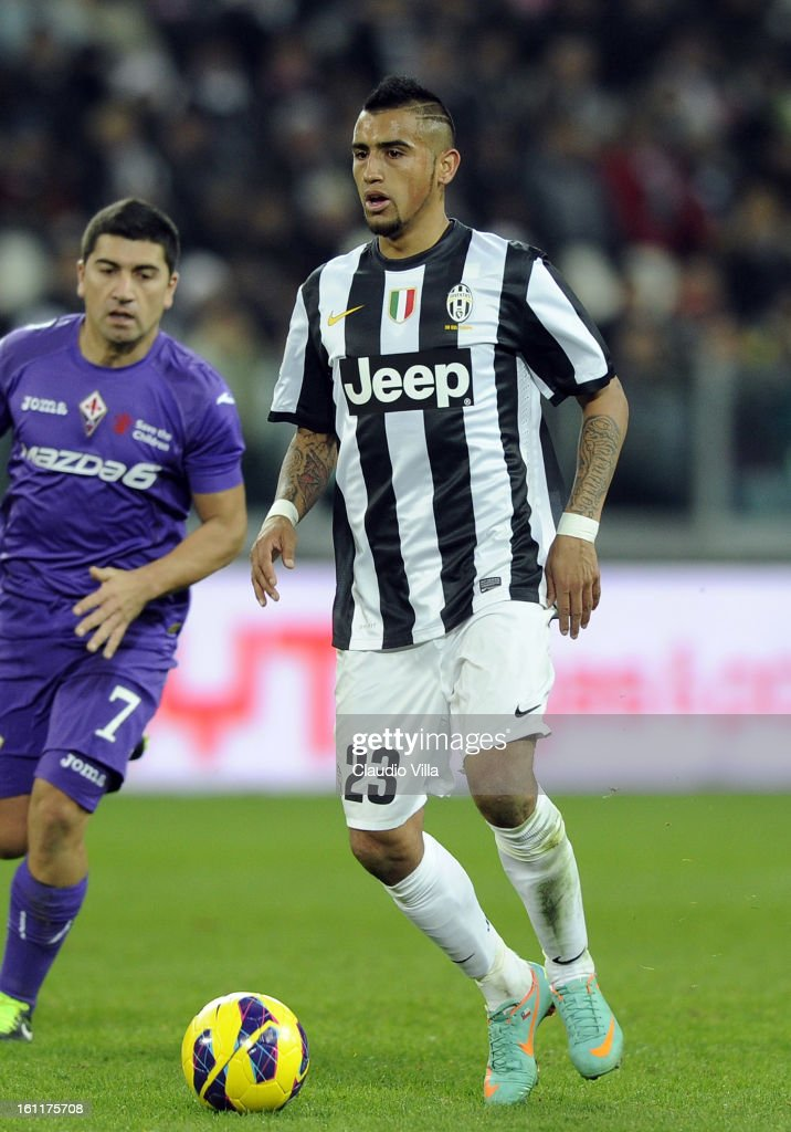 Arturo Vidal of Juventus FC in action during the Serie A match between Juventus FC and ACF Fiorentina at Juventus Arena on February 9, 2013 in Turin, Italy.