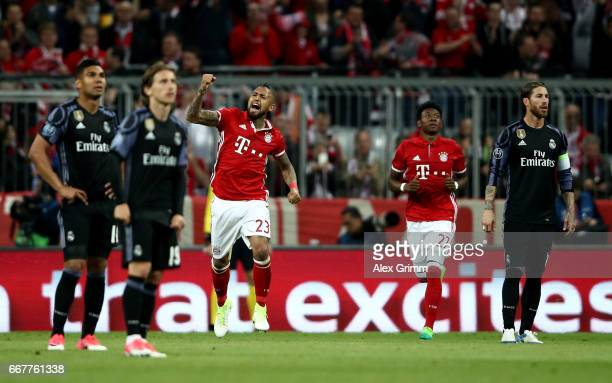 Arturo Vidal of Muenchen celebrates after he heads his team's opening goal during the UEFA Champions League Quarter Final first leg match between FC...