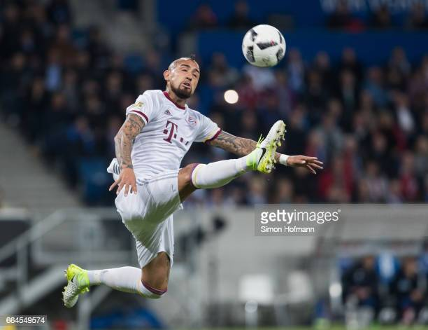 Arturo Vidal of Muenchen controls the ball during the Bundesliga match between TSG 1899 Hoffenheim and Bayern Muenchen at Wirsol RheinNeckarArena on...