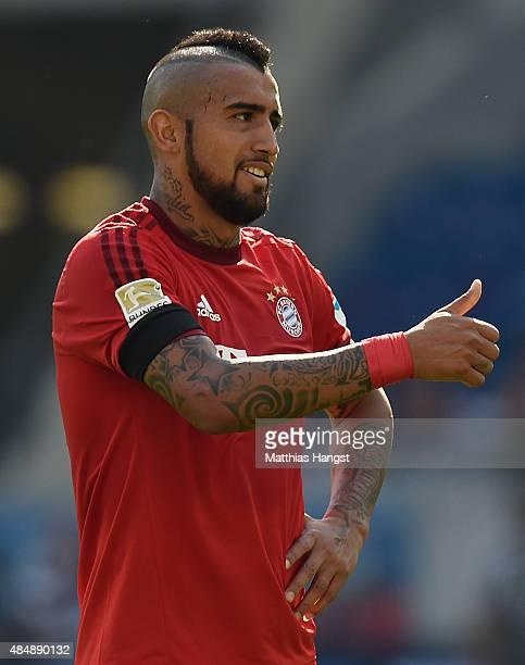 Arturo Vidal of Muenchen gestures during the Bundesliga match between 1899 Hoffenheim and FC Bayern Muenchen at Wirsol RheinNeckarArena on August 22...