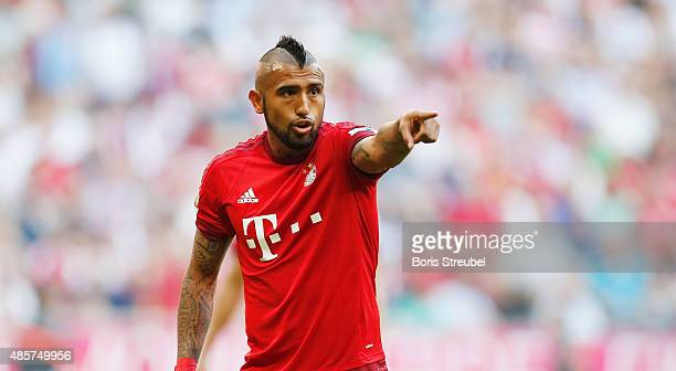 Arturo Vidal of Muenchen gestures during the Bundesliga match between FC Bayern Muenchen and Bayer 04 Leverkusen at Allianz Arena on August 29 2015...